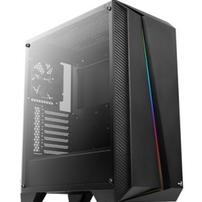 Aerocool Cylon Pro Mid Tower 1 x USB 3.0 / 2 x USB 2.0 Tempered Glass Side Window Panel Black Case with RGB LED Lighting