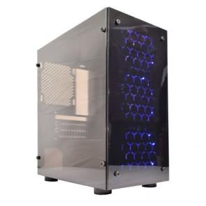 Cronus V4 Micro Tower 1 x USB 3.0 / 2 x USB 2.0 Acrylic Side & Front Window Panel Black Case with Blue LED Fans
