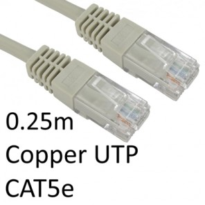 RJ45 (M) to RJ45 (M) CAT5e 0.25m Grey OEM Moulded Boot Copper UTP Network Cable