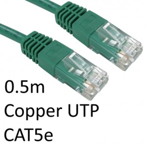 RJ45 (M) to RJ45 (M) CAT5e 0.5m Green OEM Moulded Boot Copper UTP Network Cable