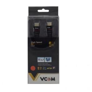 VCOM HDMI 1.4 (M) to HDMI 1.4 (M) 3m Black Nylon Braided Retail Packaged Display Cable
