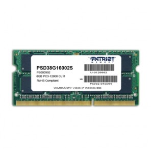 Patriot Signature Line 8GB No Heatsink (1 x 8GB) DDR3 1600MHz SODIMM Laptop Memory